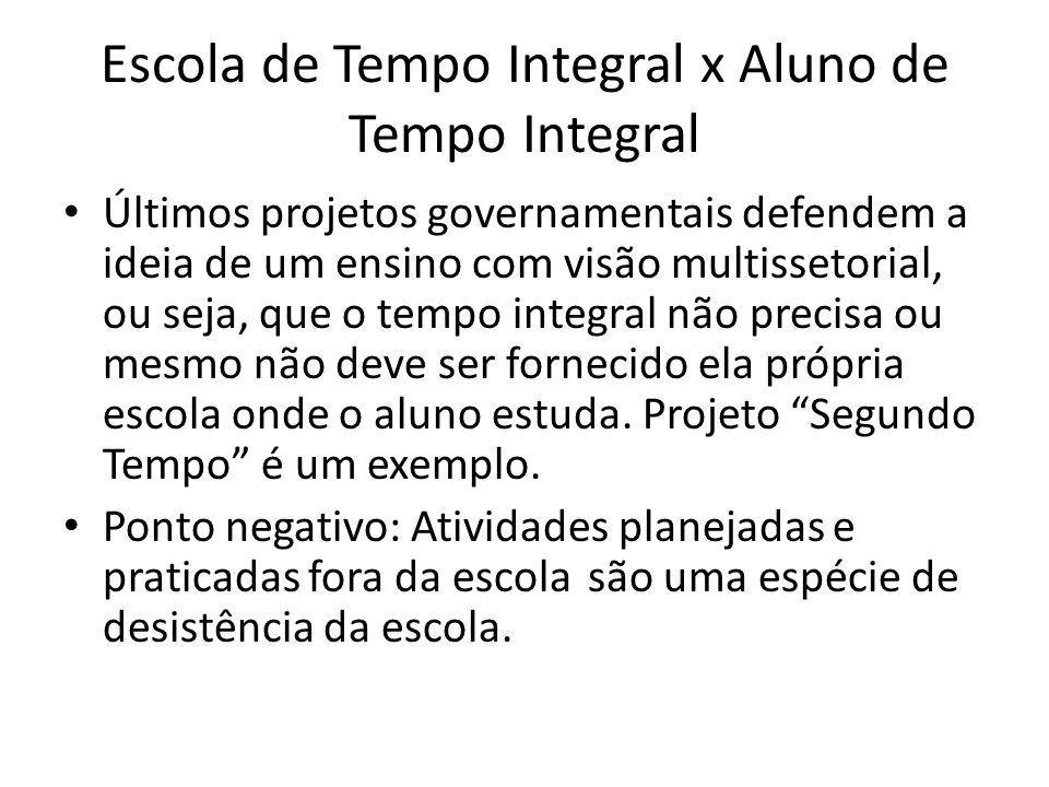 Escola de Tempo Integral x Aluno de Tempo Integral