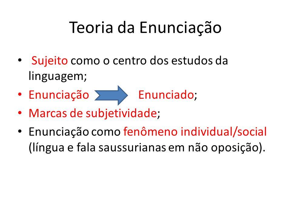 Teoria da Enunciação Sujeito como o centro dos estudos da linguagem;