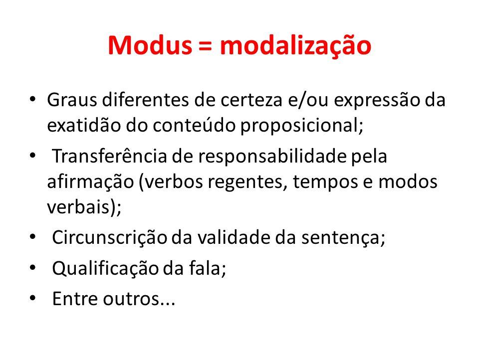Modus = modalização Graus diferentes de certeza e/ou expressão da exatidão do conteúdo proposicional;