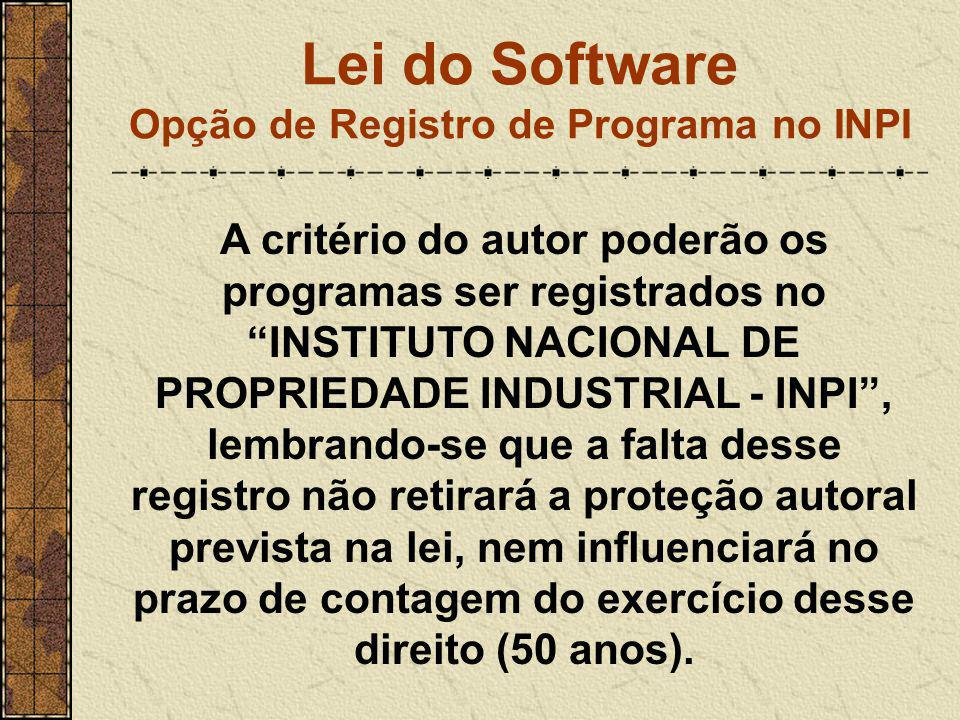 Lei do Software Opção de Registro de Programa no INPI