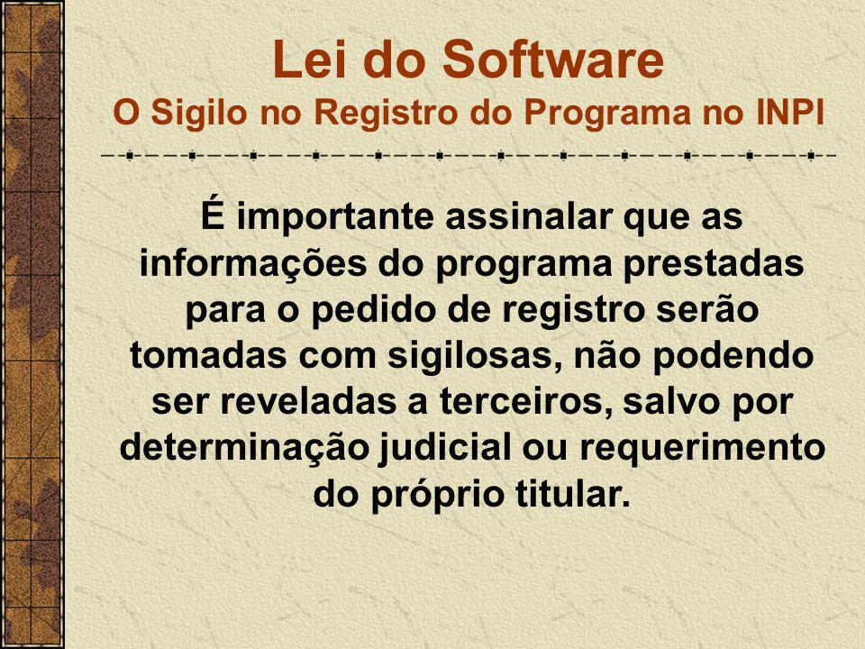 Lei do Software O Sigilo no Registro do Programa no INPI