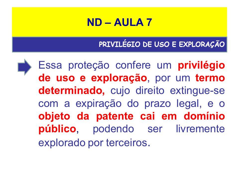 ND – AULA 7 PRIVILÉGIO DE USO E EXPLORAÇÃO.
