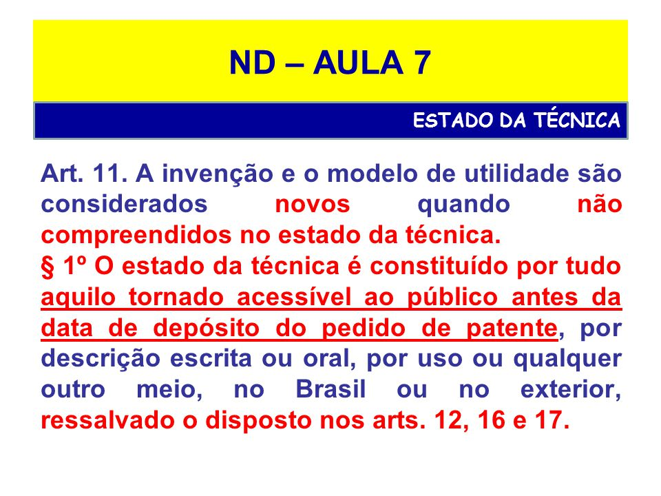 ND – AULA 7 ESTADO DA TÉCNICA.