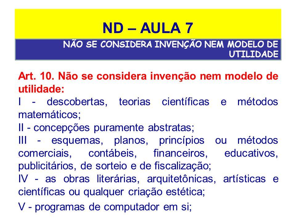 ND – AULA 7 NÃO SE CONSIDERA INVENÇÃO NEM MODELO DE UTILIDADE. Art. 10. Não se considera invenção nem modelo de utilidade: