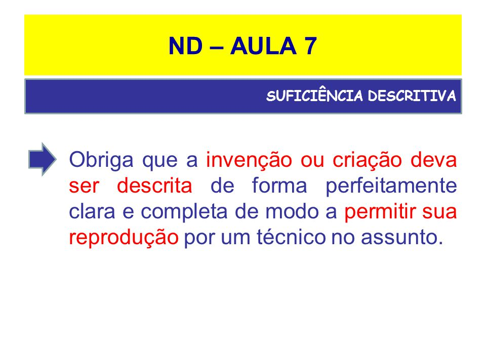 ND – AULA 7 SUFICIÊNCIA DESCRITIVA.