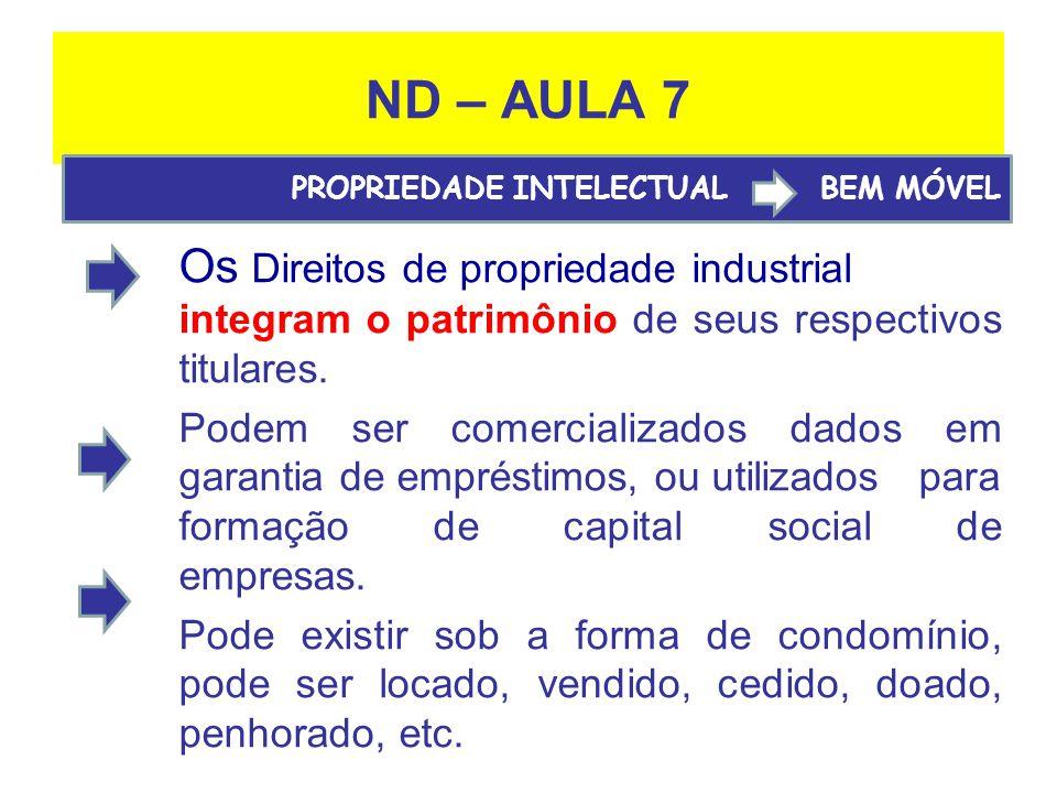 ND – AULA 7 PROPRIEDADE INTELECTUAL BEM MÓVEL. Os Direitos de propriedade industrial integram o patrimônio de seus respectivos titulares.