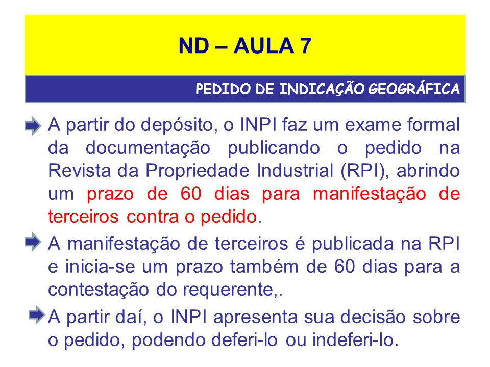 ND – AULA 7 PEDIDO DE INDICAÇÃO GEOGRÁFICA.