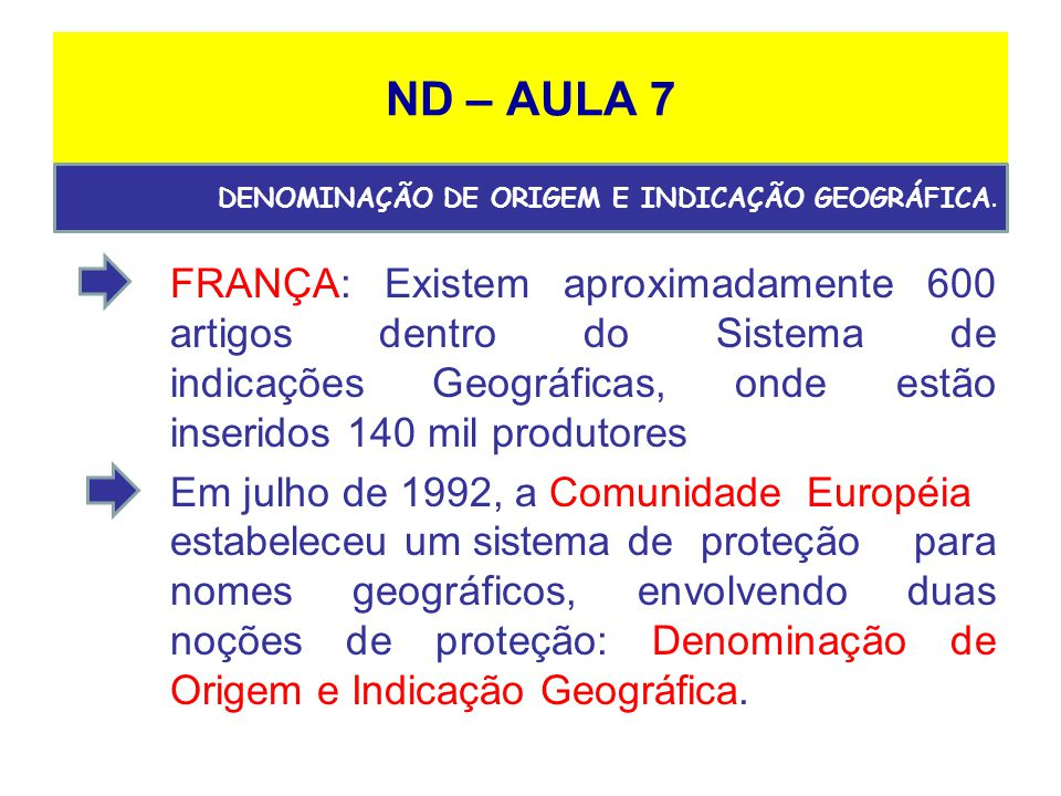 ND – AULA 7 DENOMINAÇÃO DE ORIGEM E INDICAÇÃO GEOGRÁFICA.