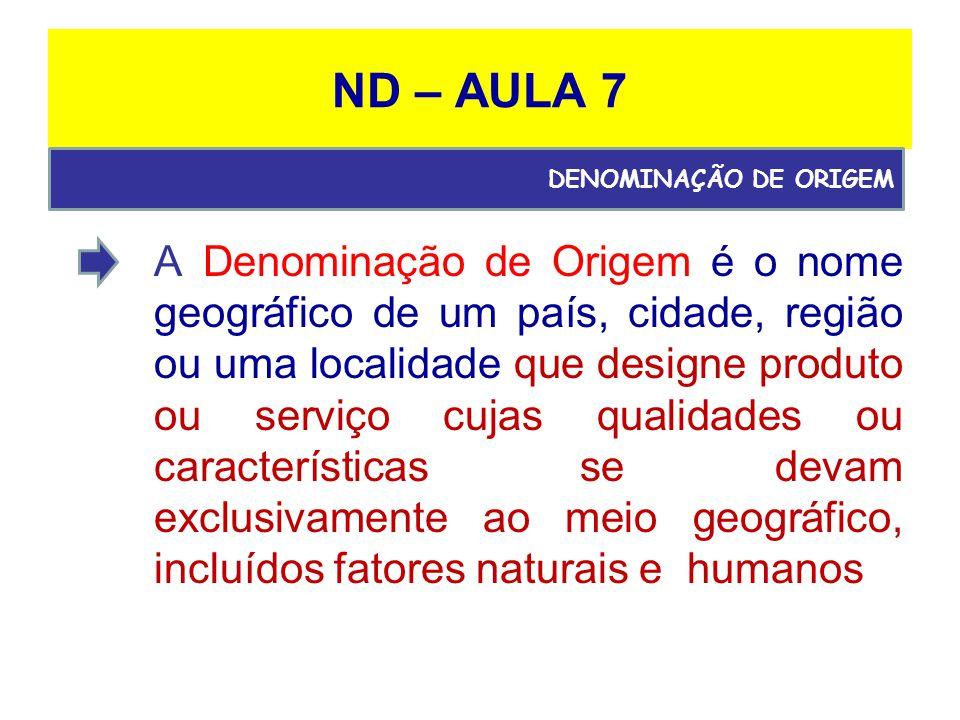 ND – AULA 7 DENOMINAÇÃO DE ORIGEM.