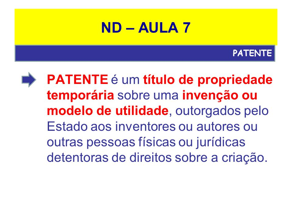 ND – AULA 7 PATENTE.