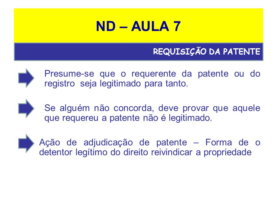 ND – AULA 7 Presume-se que o requerente da patente ou do registro seja legitimado para tanto.