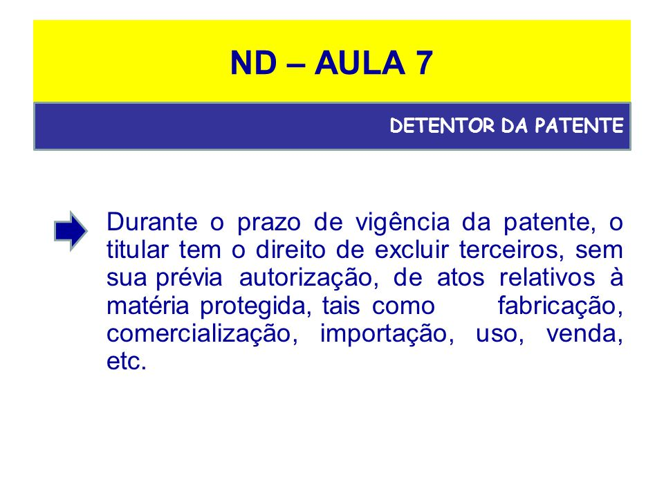 ND – AULA 7 DETENTOR DA PATENTE.