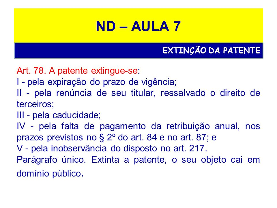 ND – AULA 7 Art. 78. A patente extingue-se: