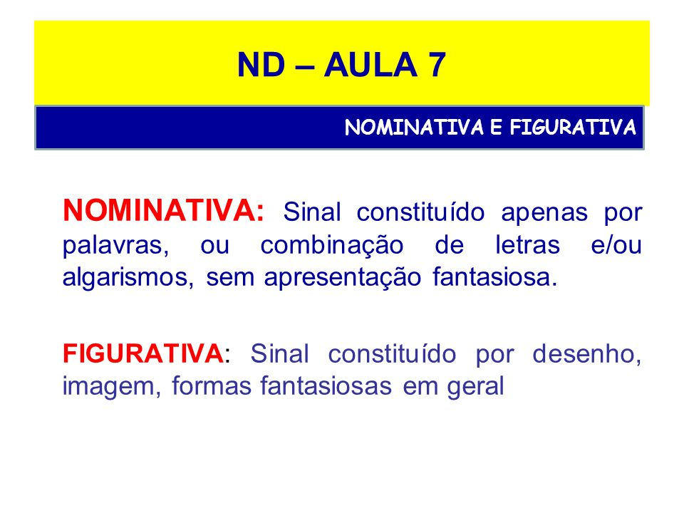 ND – AULA 7 NOMINATIVA: Sinal constituído apenas por palavras, ou combinação de letras e/ou algarismos, sem apresentação fantasiosa.