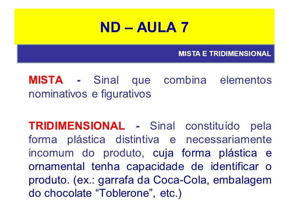ND – AULA 7 MISTA E TRIDIMENSIONAL. MISTA - Sinal que combina elementos nominativos e figurativos.