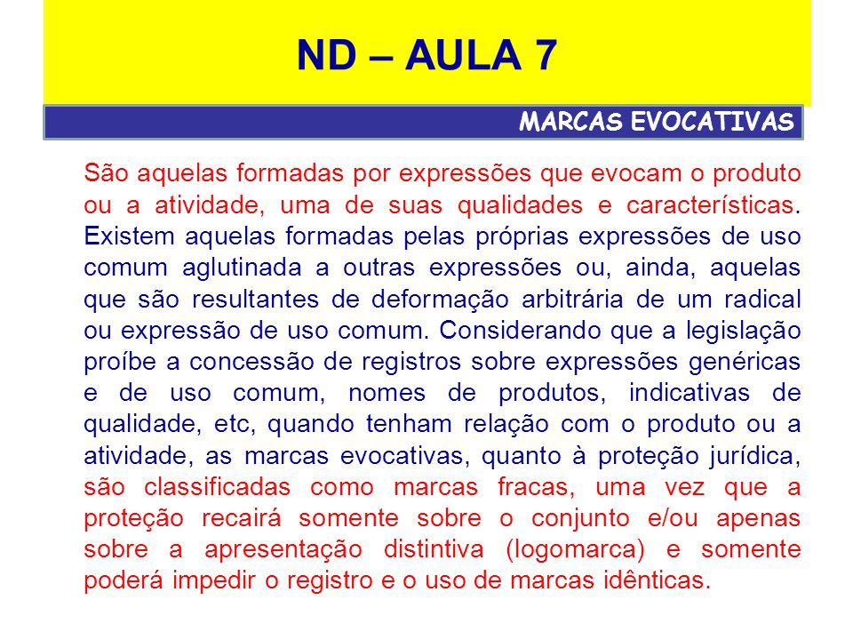 ND – AULA 7 MARCAS EVOCATIVAS.