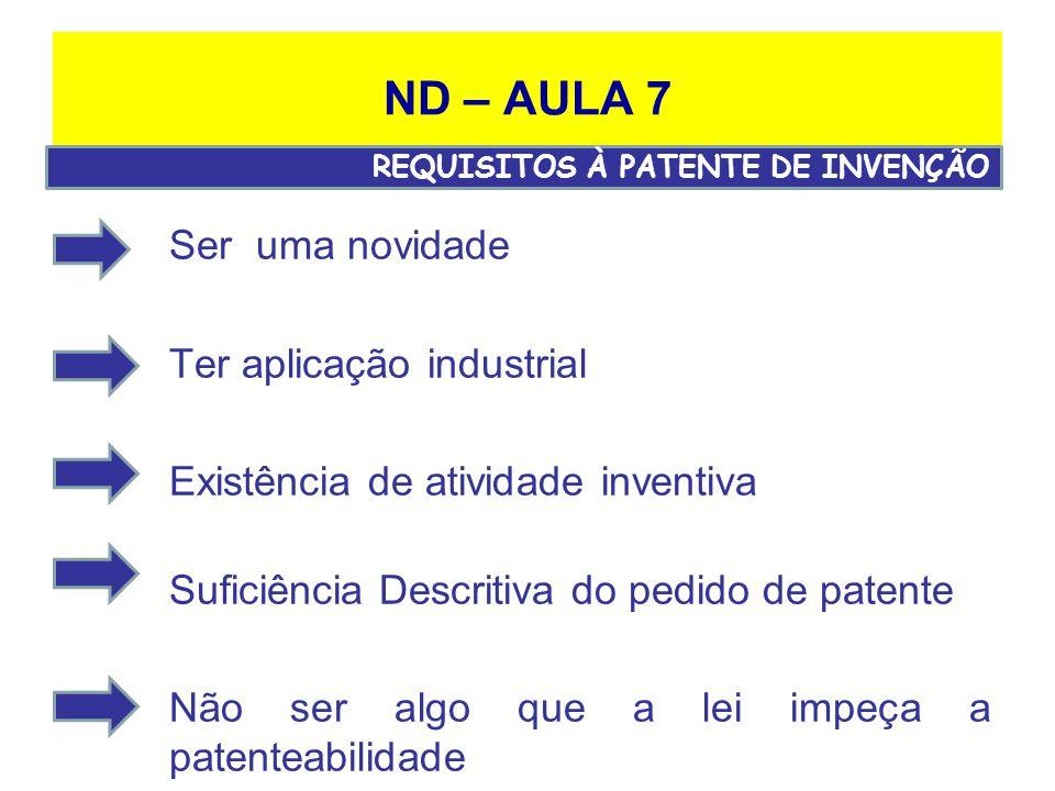 ND – AULA 7 Ser uma novidade Ter aplicação industrial