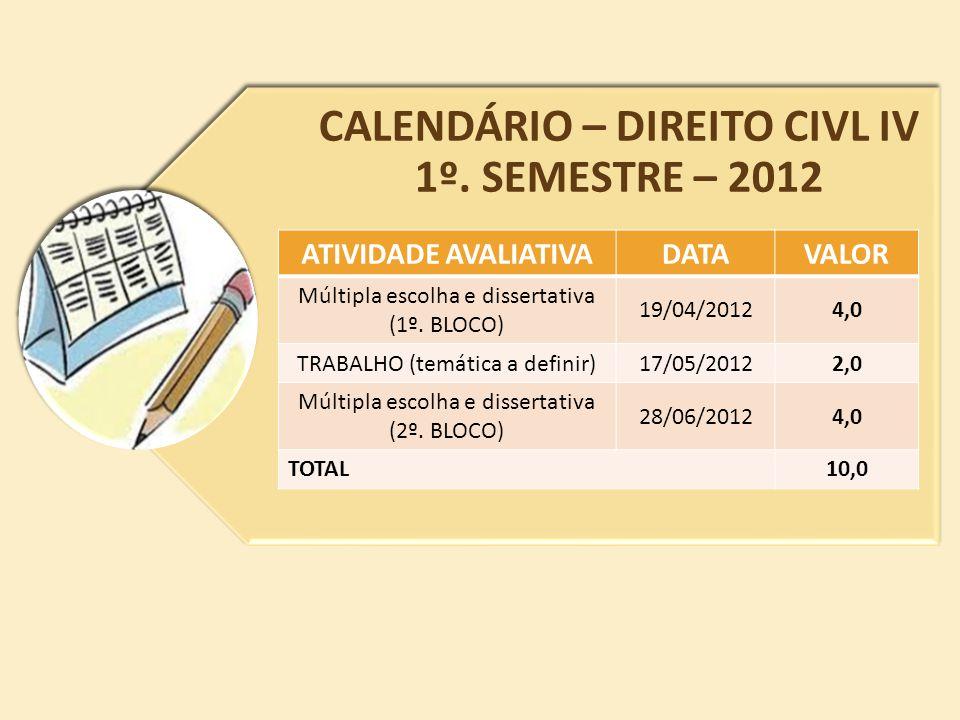 CALENDÁRIO – DIREITO CIVL IV