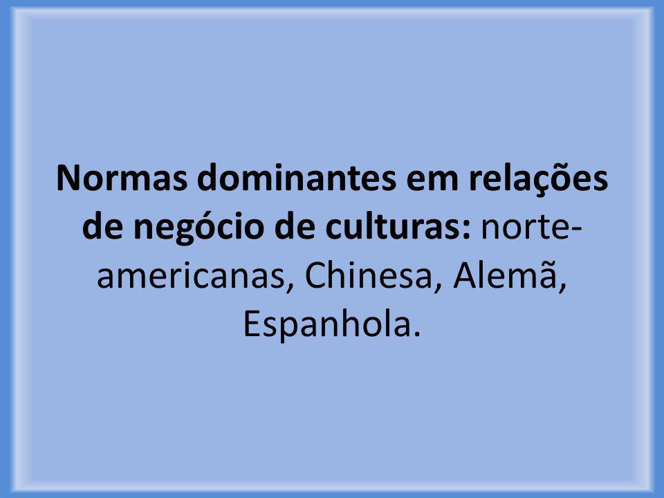 Normas dominantes em relações de negócio de culturas: norte-americanas, Chinesa, Alemã, Espanhola.
