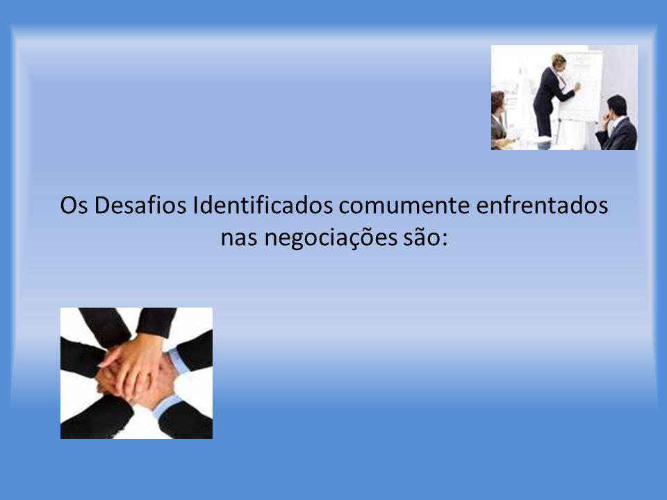 Os Desafios Identificados comumente enfrentados nas negociações são: