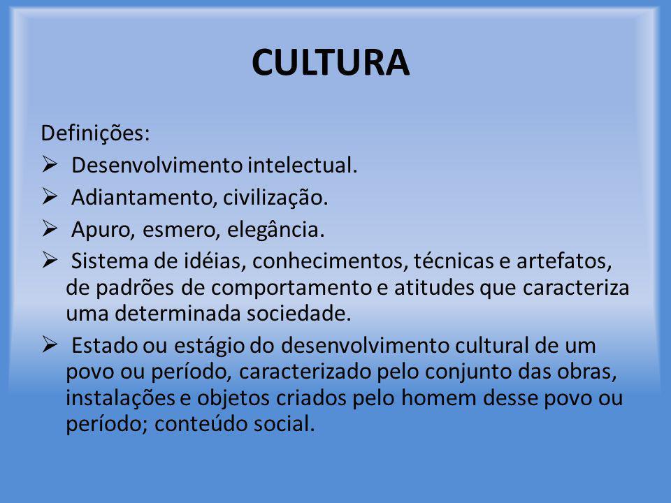 CULTURA Definições: Desenvolvimento intelectual.