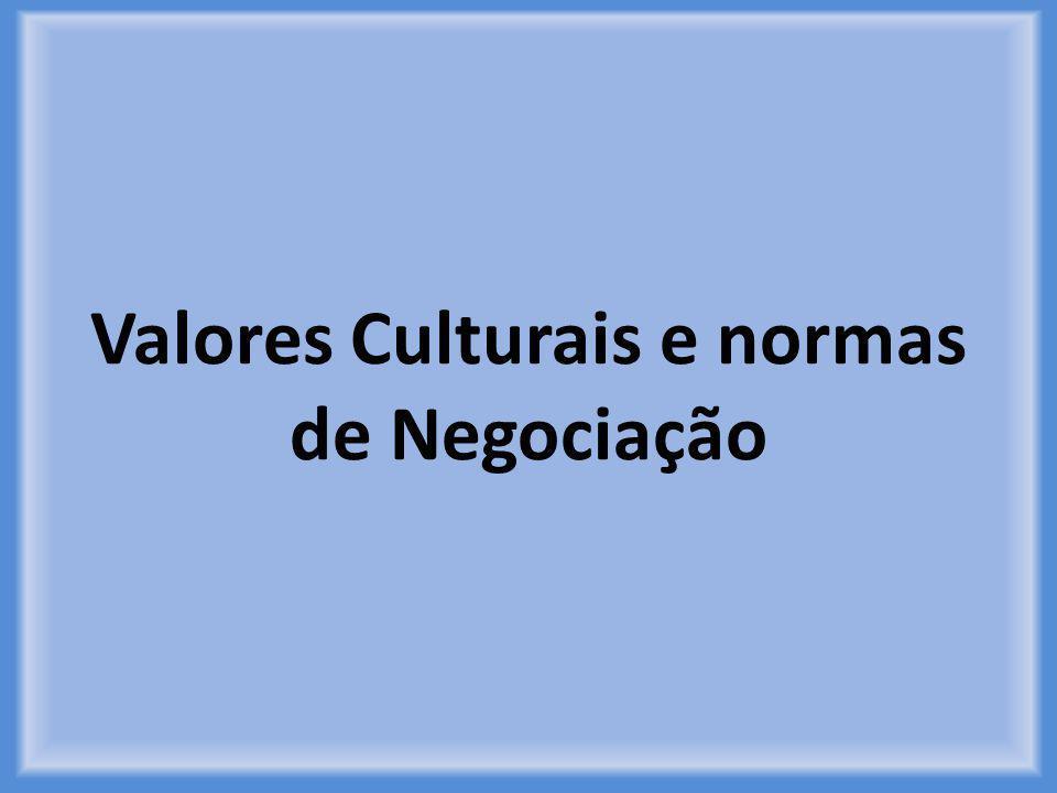 Valores Culturais e normas de Negociação