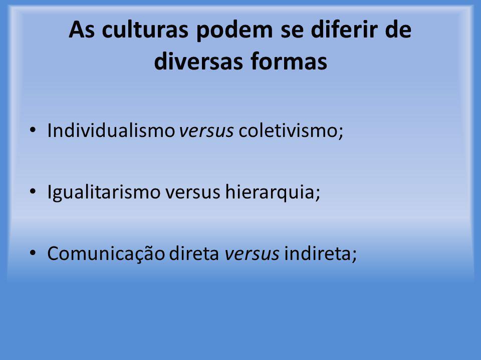 As culturas podem se diferir de diversas formas