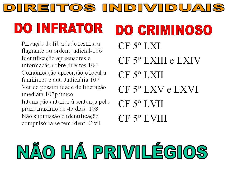 DIREITOS INDIVIDUAIS DO INFRATOR DO CRIMINOSO NÃO HÁ PRIVILÉGIOS