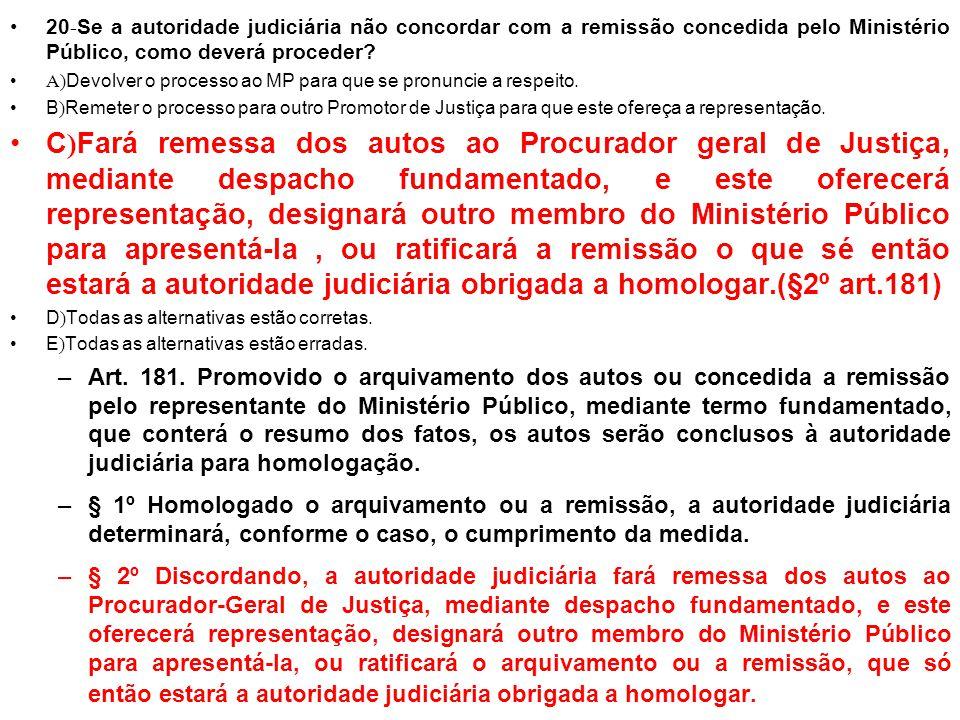 20-Se a autoridade judiciária não concordar com a remissão concedida pelo Ministério Público, como deverá proceder