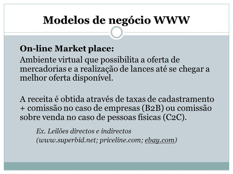 Modelos de negócio WWW On-line Market place: