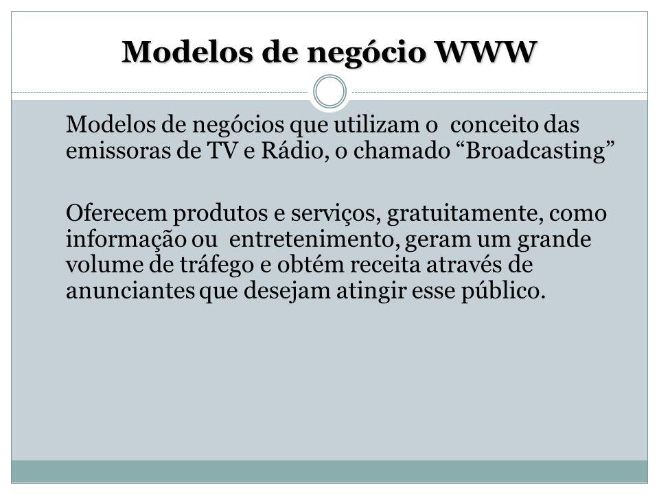 Modelos de negócio WWW Modelos de negócios que utilizam o conceito das emissoras de TV e Rádio, o chamado Broadcasting