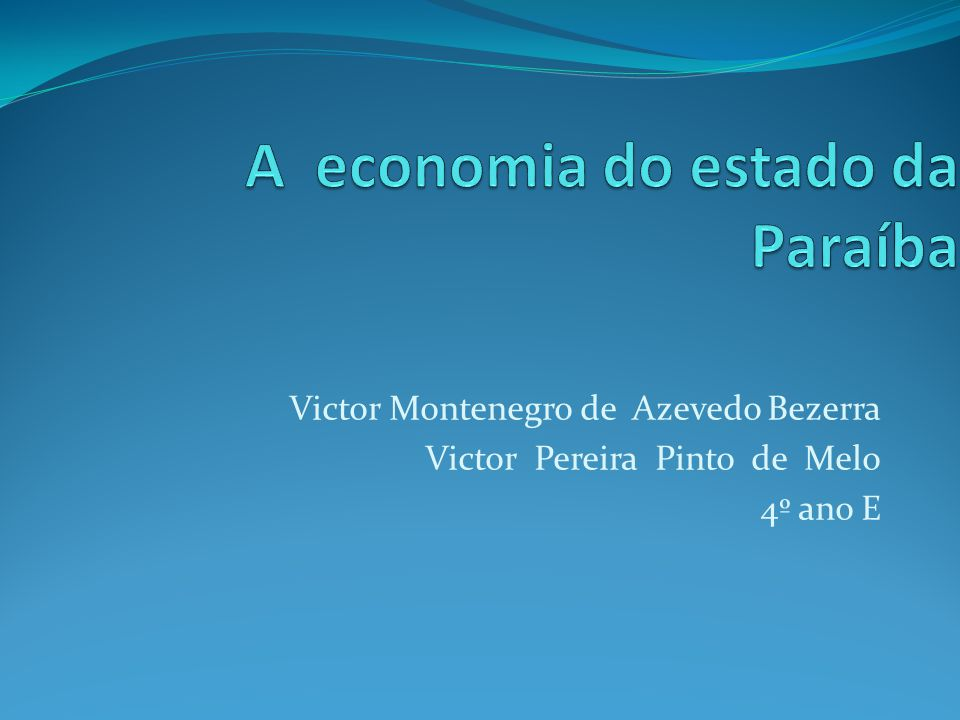 A economia do estado da Paraíba
