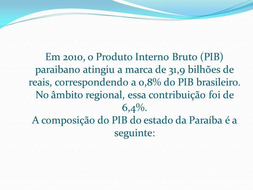 A composição do PIB do estado da Paraíba é a seguinte: