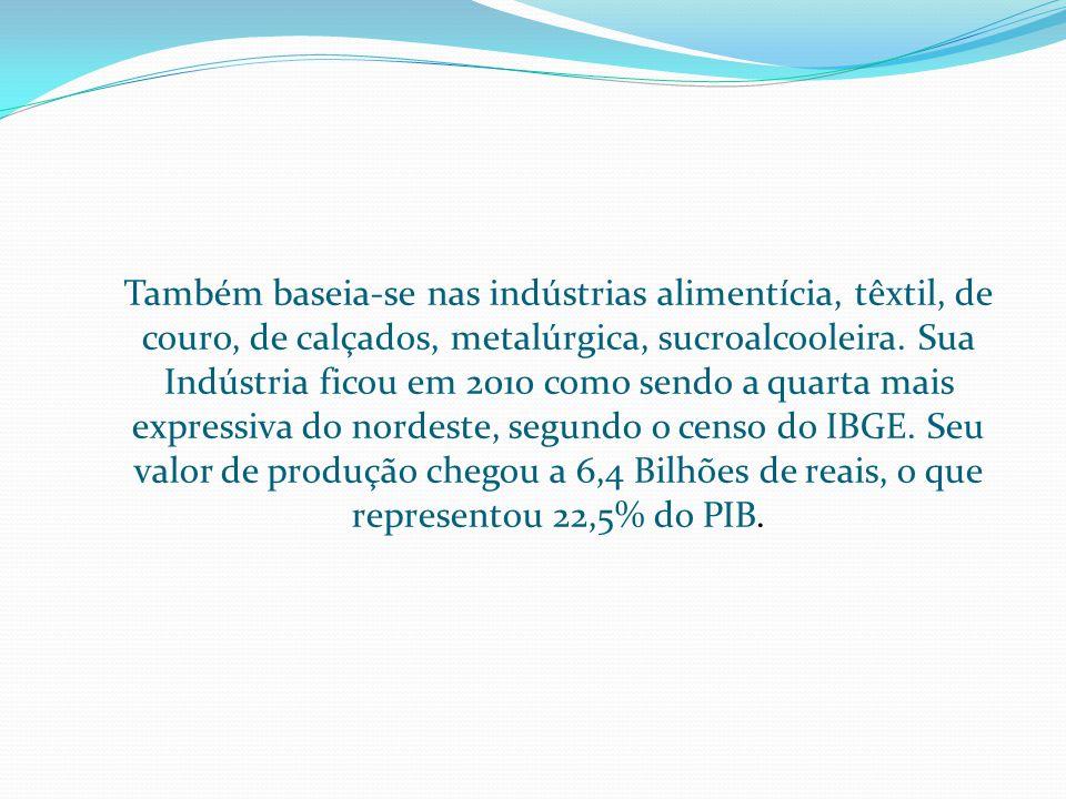 Também baseia-se nas indústrias alimentícia, têxtil, de couro, de calçados, metalúrgica, sucroalcooleira.
