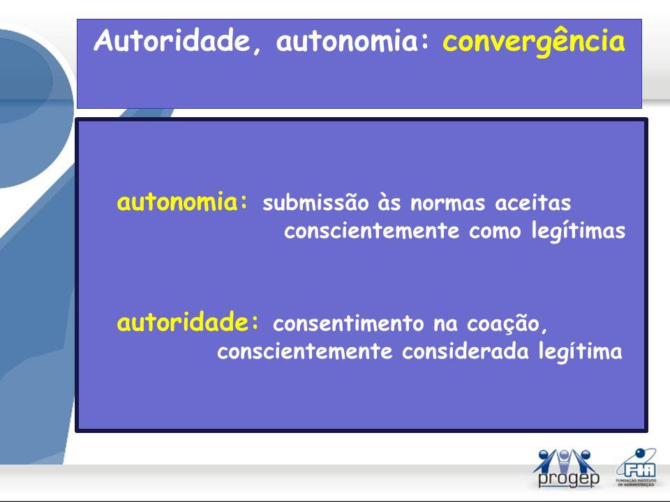 Autoridade, autonomia: convergência