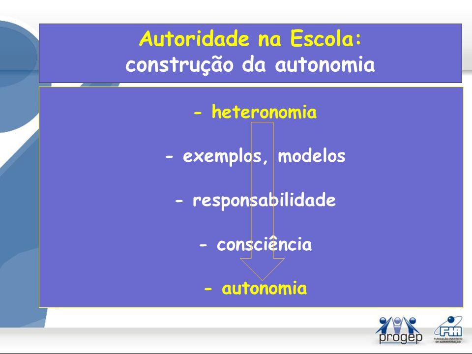 Autoridade na Escola: construção da autonomia
