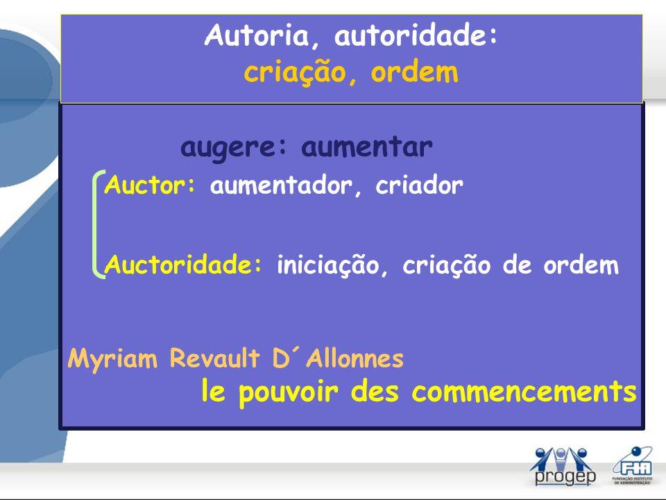 Autoria, autoridade: criação, ordem