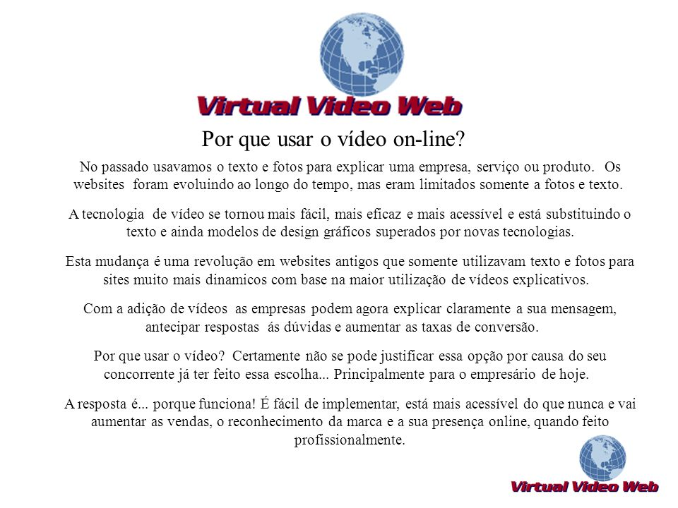 Por que usar o vídeo on-line