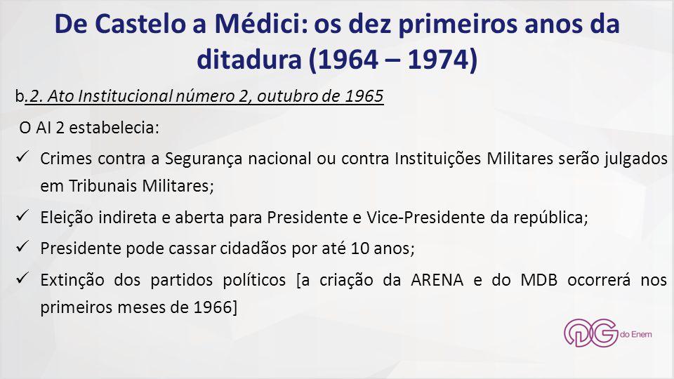 De Castelo a Médici: os dez primeiros anos da ditadura (1964 – 1974)