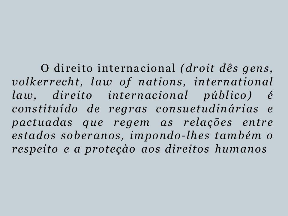 O direito internacional (droit dês gens, volkerrecht, law of nations, international law, direito internacional público) é constituído de regras consuetudinárias e pactuadas que regem as relações entre estados soberanos, impondo-lhes também o respeito e a proteçào aos direitos humanos