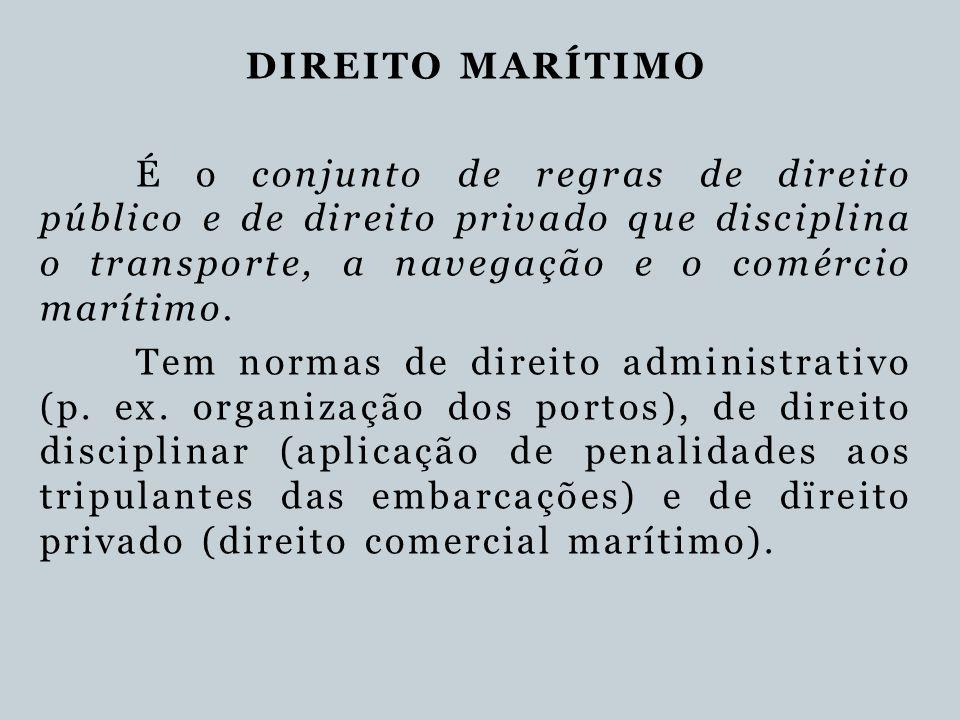 DIREITO MARÍTIMO É o conjunto de regras de direito público e de direito privado que disciplina o transporte, a navegação e o comércio marítimo.