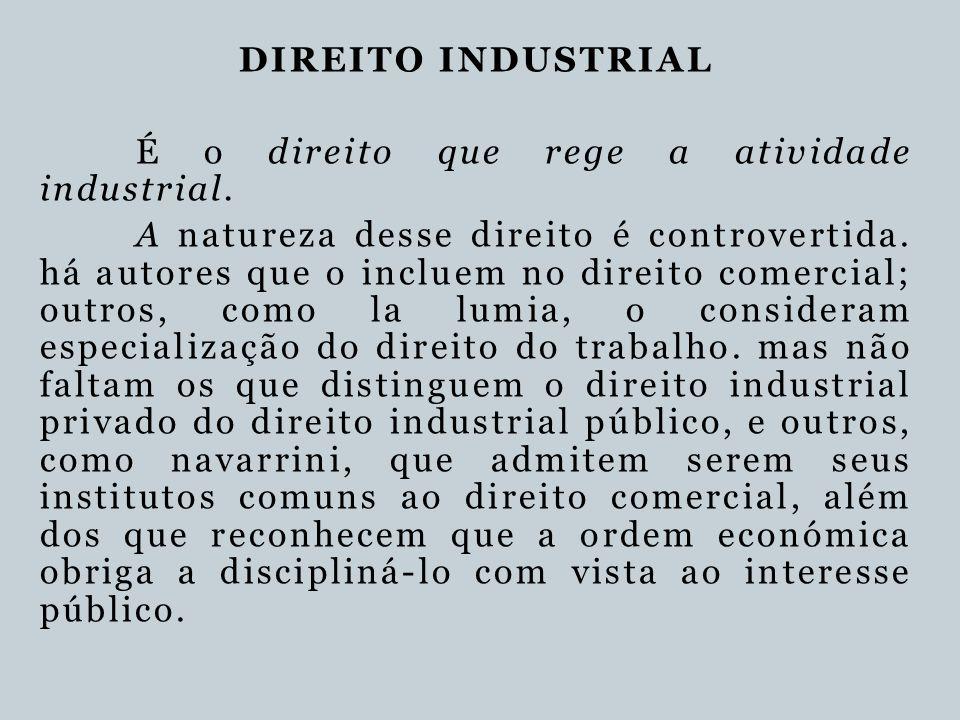DIREITO INDUSTRIAL É o direito que rege a atividade industrial.