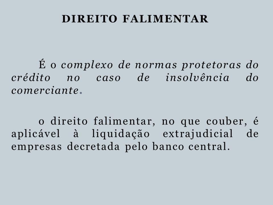 DIREITO FALIMENTAR É o complexo de normas protetoras do crédito no caso de insolvência do comerciante.