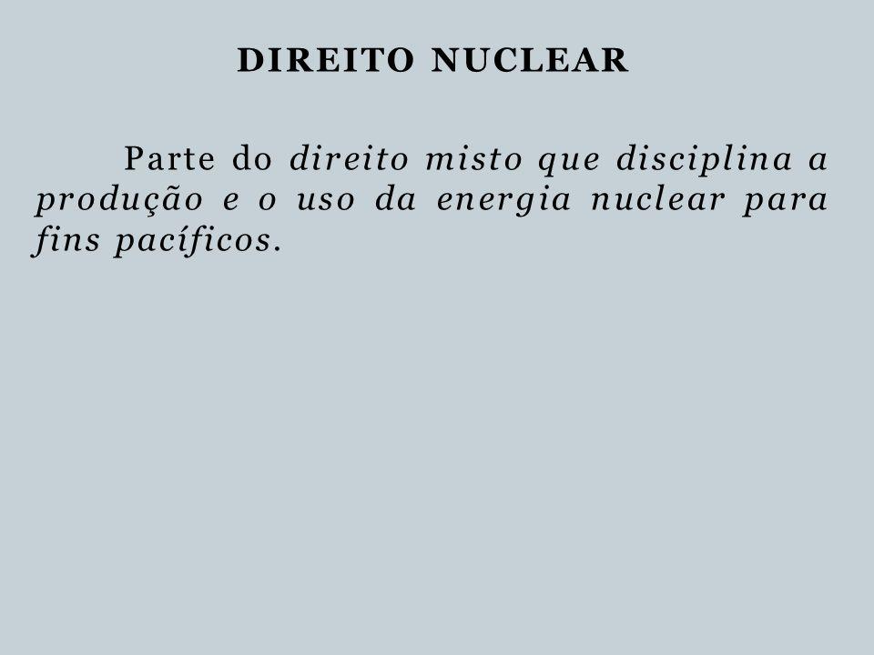 DIREITO NUCLEAR Parte do direito misto que disciplina a produção e o uso da energia nuclear para fins pacíficos.