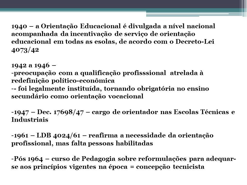 1940 – a Orientação Educacional é divulgada a nível nacional acompanhada da incentivação de serviço de orientação educacional em todas as esolas, de acordo com o Decreto-Lei 4073/42