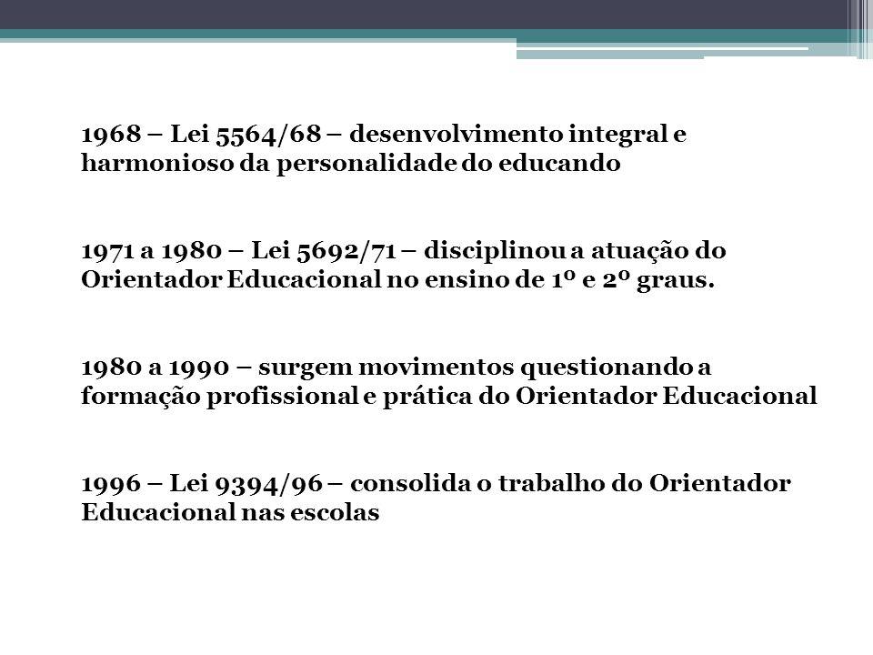 1968 – Lei 5564/68 – desenvolvimento integral e harmonioso da personalidade do educando