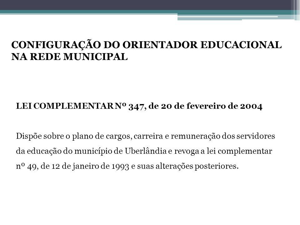CONFIGURAÇÃO DO ORIENTADOR EDUCACIONAL NA REDE MUNICIPAL
