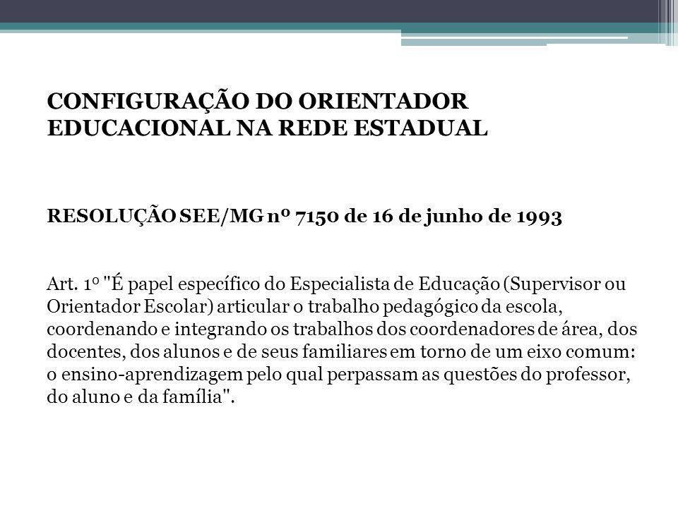 CONFIGURAÇÃO DO ORIENTADOR EDUCACIONAL NA REDE ESTADUAL