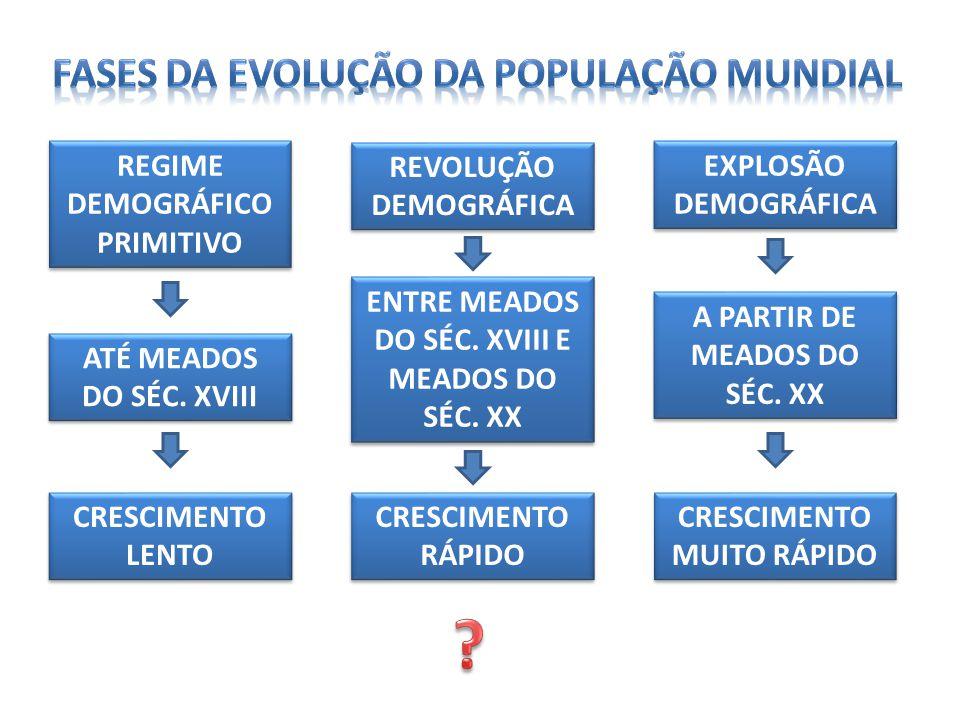 FASES DA EVOLUÇÃO DA POPULAÇÃO MUNDIAL