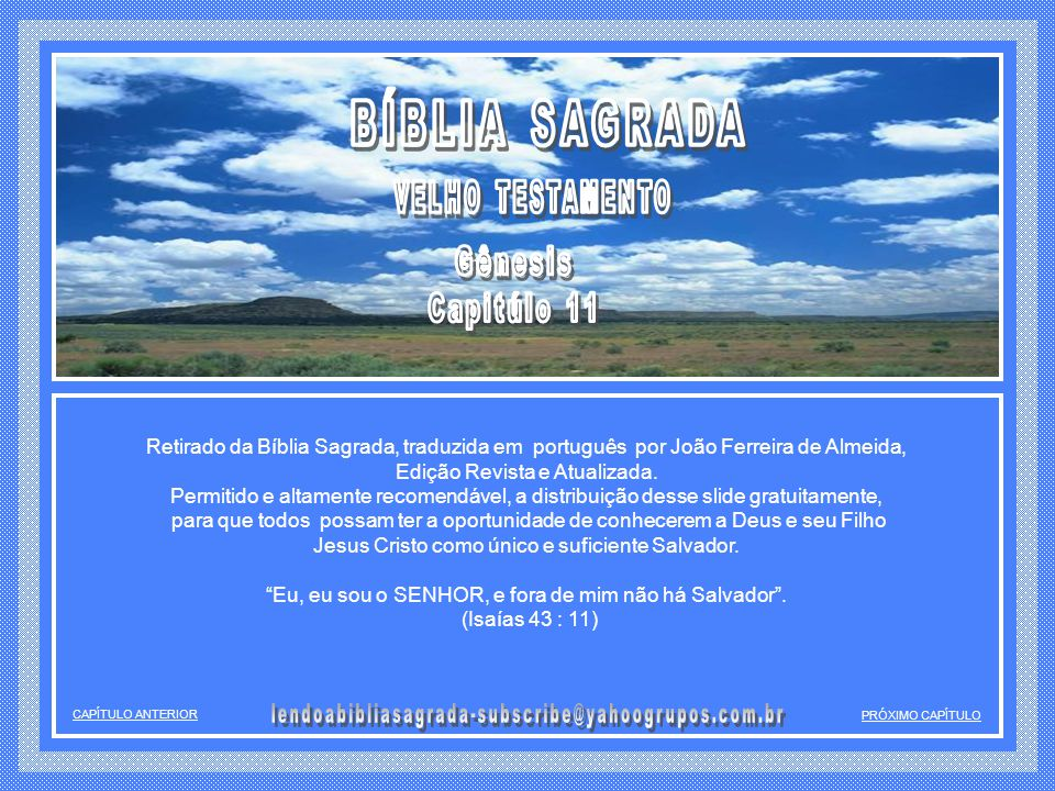 BÍBLIA SAGRADA Gênesis Capitúlo 11 VELHO TESTAMENTO